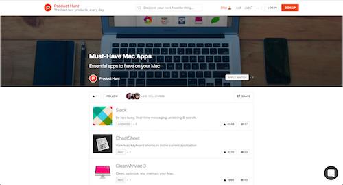 Producthunt lijst met apps voor MAC